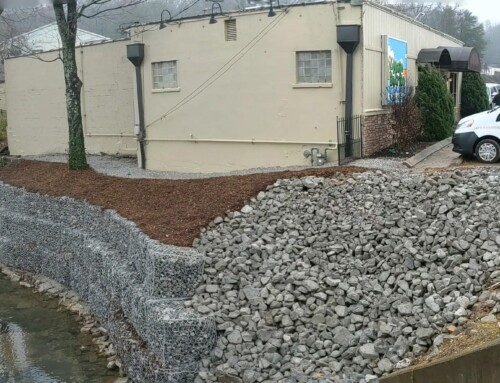 Gabion Stone Retaining Wall at Mojo Burrito